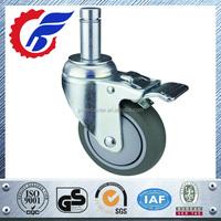 75mm thru 150mm swivel stem locking caster wheel for medical furniture