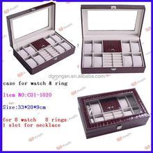 Glass Top 8 Watch Leather Box Display Jewelry Organizer Storage Case C01-1020
