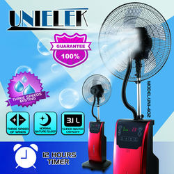 Freezing water air cooler mist fan 16 inch home standing electric fan with ice pad cooling