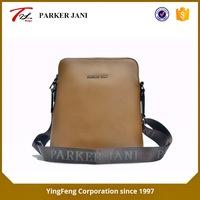 Brown cross pattern pu leather messenger bag for men