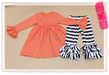 Top cotton persnickety girls full long sleeve dress shirt and ruffle stripe fashion baby clothes set for kids