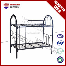 metal black double decker single bed / metal bunk bed