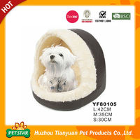 2015 Luxury Pet Products PU Leather Fabric Long Fur Warm Dog Bed House