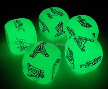 Adult sex dice glowing in the dark
