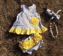 2015 baby new gray yellow flower swing tops swing outfits with matching necklace and bows