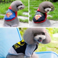 Superman Or Batman Pet Dog Puppy Wear Warm Autumn Winter Sport Cloth T-Shirt With Two Foots Winter Coat Sweater BY-051