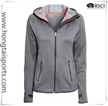 Women hoody Jacket with Marl grey color fabric with brushed back Quality for lady running sports wear with bonded welt zipper