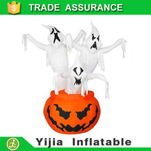 210cm tall Halloween inflatable pumpkin animated 3 ghosts inside