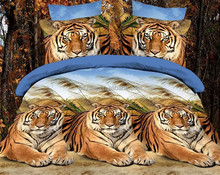 customized cartoon queen size 3d animal designs tiger luxury shiny bedding 4pcs printed bedsheet