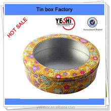 New Promotion wholesale round food cookie tin can wiht window