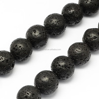 10mm Natural Round Black Semi-Precious Lava Stone Beads Strings