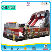 fashionable commercial inflatable slide decorated with fire truck /inflatable slide/inflatable slide for kids and adults