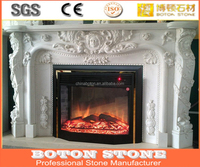 Indoor white marble fireplace, Stone fireplace mantel,white carrara marble fireplace