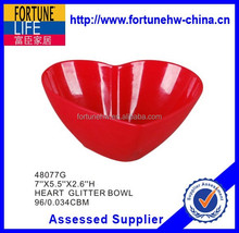 "7""X5.5""X2.6""H melamine heart glitter bowl"