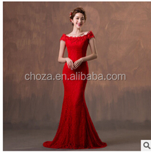 C63008A Korean high quality wedding dress long lace dress red dress for ladies