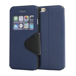 High quality pu leather flip cover with window and stand case for iphone 6