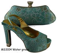 Nigerai 2016 fashion high heel women Wedding /party shoes match bag MS3104 Water green