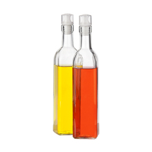 SINOGLASS trade assurance 250 ML with non drip silicone lid glass bottle for oil or vinegar