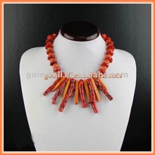 Coral and natural stone design necklace