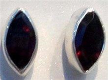 1Pair Garnet Gemstone 925 Silver Studs E129