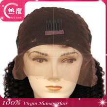 Indian hair color natural Kinky curl thick human hair wig for sale