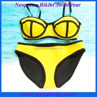 Best quality yellow color neoprene bikini swimwear wholesale