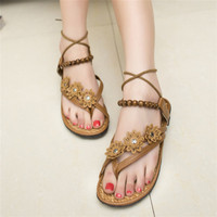 HFR-TS329 2015 new summer bead toe folk style flower flat women cheap shoes