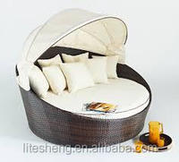 Classic Rattan Round Double Daybed Couch Sofa