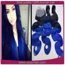 2015 hot selling blue ombre hair weaves manufacturer