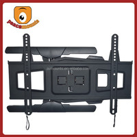 """For 32""""-65"""" (Black) features Double, Articulating Arm, Integrated Tilt/Swivel Slim Full Motion wall hanging tv cabinet"""