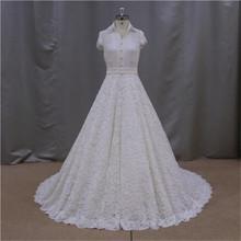real photos of fishtail backless long lace chiffon wedding dress 2015