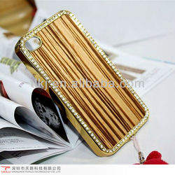 Elactroplate mobile phone case cover for iphone 4 4s wooden case