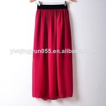 mujeres gasa completo maxi largo falda plisada de hojaldre beach faldas de alta elástico de la cintura