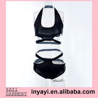 2015Hot sale Europe New fashion sexy women swimwear one piece swimsuits bandage black girl bikini