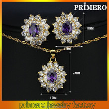 PRIMERO Europe and America Purple classic charm crystal jewelry sets Copper alloy flowers jewelry sets amethyst jewelry set