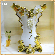 Factory direct selling cheap gold plated flower vase for home decoration gift ceramic floor vase