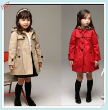 Wholesale 2015 Spring Autumn Children Baby Girls Long Trench Jackets