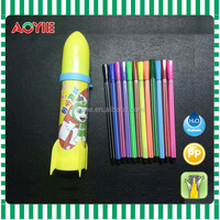 New unique and creative rocket style package of 12pcs felt tip color pen for children