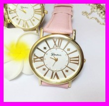 Wholesale high quality pink leather beautiful ladies geneva quartz wrist watch made in china HD1956