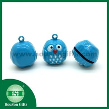 HouSon HS851 fancy Metal Crafts animal brass owl small jingle bell blue owl metal bell