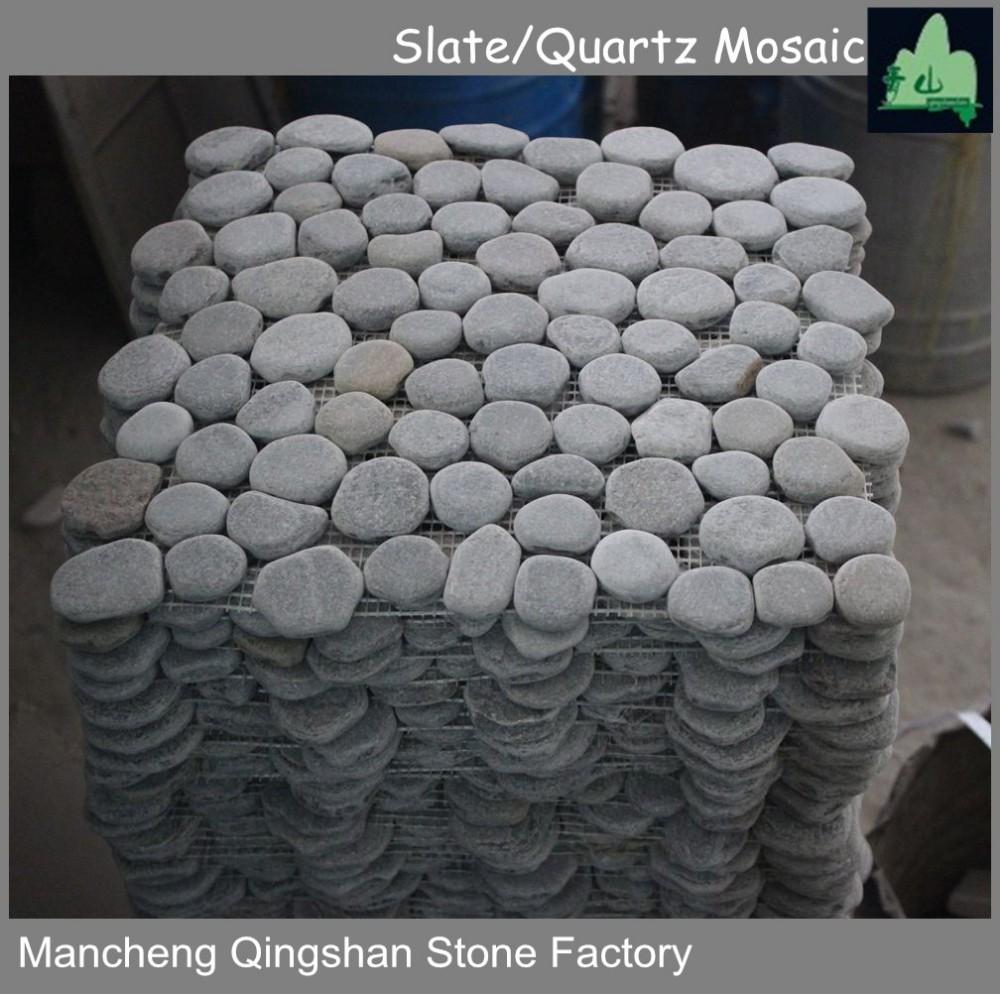 Cobble Stone Mosaics : Natural stone small cobble tile mosaic garden flooring
