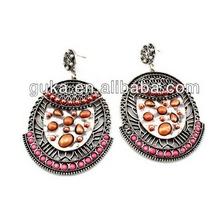Alloy Metal Resin Stone Inserts indian jhumka hoop earring