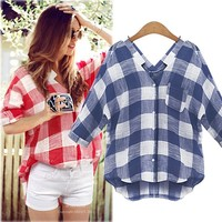 Latest Blouse Design 2015 Casual V Neck Batwing Sleeve Plaid Blouse Shirt For Lady