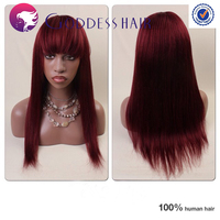 Light yaki red highlight full wig Brazilian hair full lace human wigs with bang