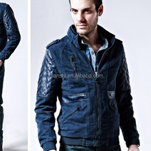 Wholesale European Fashionable Men's Diamond Leather Sleeve Denim Jacket