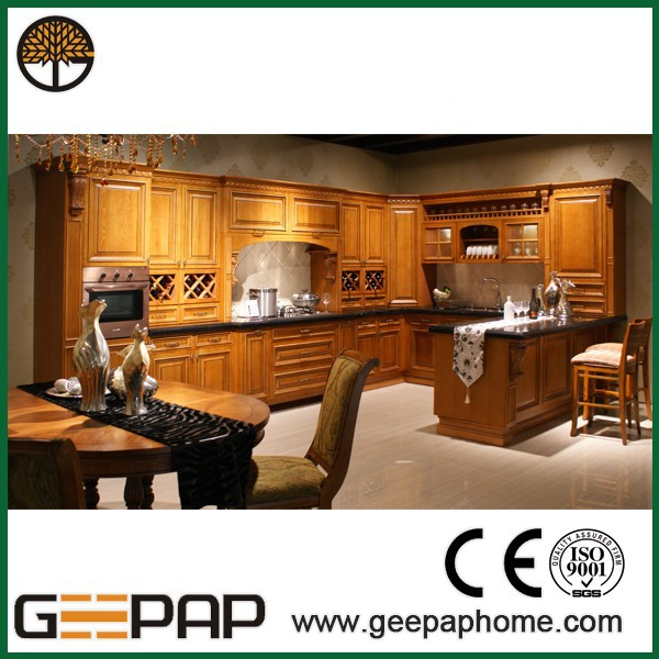 Modern assembled kitchen solid wood teak wood kitchen cabinet buy