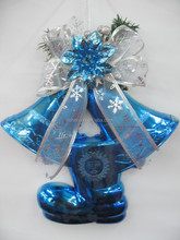 promotional xmas decorative jingle bell blue christmas bell decoration with boot
