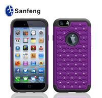 2012 Newest Purple Skin Cover Case For Apple Iphone 6 Original Ulocked Mobilephone Dazzle Case With Purple pc&Black skin