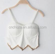 Z56824A Rivet irregular condole belt nightclub sexy bras/crop tops