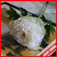 cream white single stem high quality silk peony flowers for indoor decoration